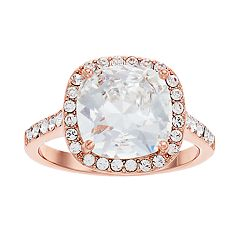Brilliance Rose Gold Tone Cushion Halo Ring with Swarovski Crystals