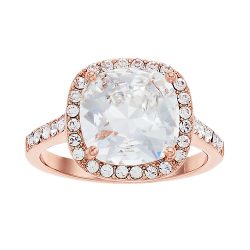 Brilliance Rose Gold Tone Cushion Halo Ring with Swarovski Crystals
