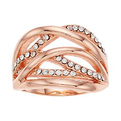 Brilliance Rose Gold Tone Crisscross Ring with Swarovski Crystals
