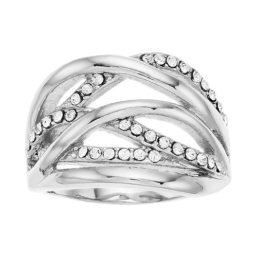 Brilliance Crisscross Ring with Swarovski Crystals