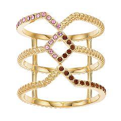 Brilliance Gold Tone Swarovski Crystal Geometric Ring