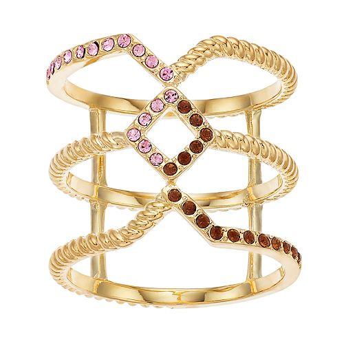 Brilliance Gold Tone Geometric Ring with Swarovski Crystal