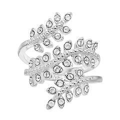 Brilliance Silver Tone Wrap Leaf Ring with Swarovski Crystal