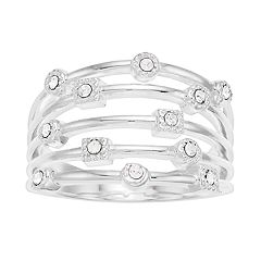 Brilliance Silver Tone Tiered Ring with Swarovski Crystal