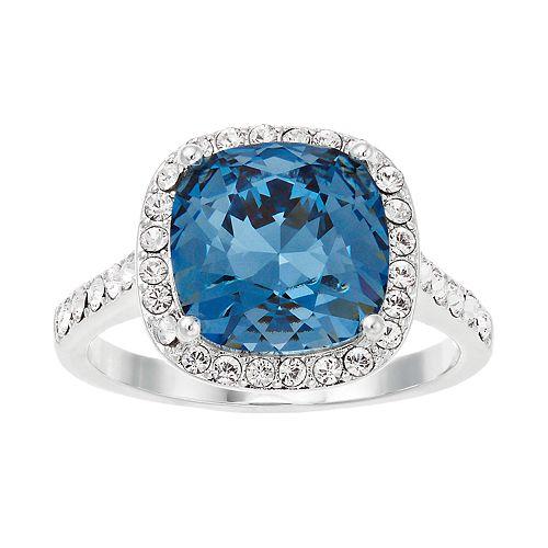 Brilliance Silver Tone Cushion Blue Ring with Swarovski Crystal