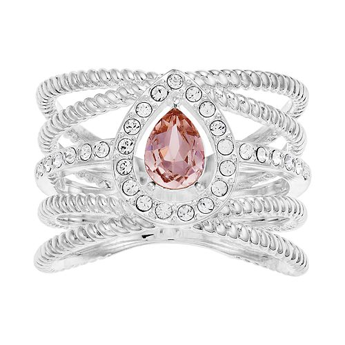 Brilliance Silver Tone Rope Band Ring with Swarovski Crystal