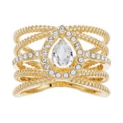 Brilliance Gold Tone Rope Band Swarovski Crystal Ring