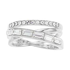 Brilliance Silver Tone Baguette Swarovski Crystal Wrap Ring