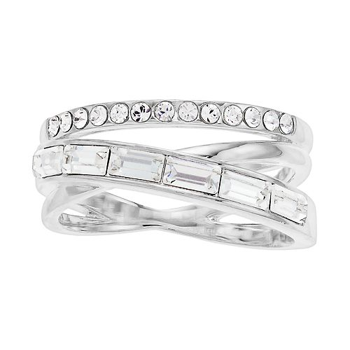 Brilliance Silver Tone Baguette Wrap Ring with Swarovski Crystal