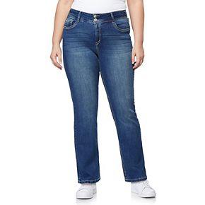 Juniors' Plus Size WallFlower Midrise Curvy Bling Bootcut Jeans