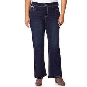 Juniors' Plus Size WallFlower Midrise Luscious Curvy Bling Bootcut Jeans
