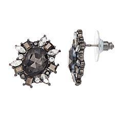 Black Simulated Stone Flower Motif Stud Earrings