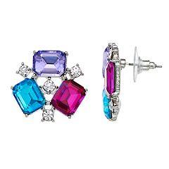 Multi Colored Rectangle Simulated Stone Stud Earrings
