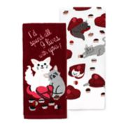 Celebrate Valentine's Day Together Cat Kitchen Towel 2-pack