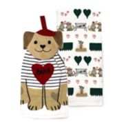 Celebrate Valentine's Day Together Dog Button-Top Kitchen Towel 2-pack