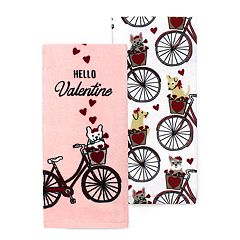 Celebrate Valentine's Day Together Bike Kitchen Towel 2-pack