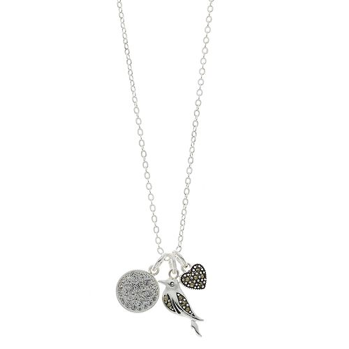 Silver Expressions by LArocks Marcasite & Crystal Bird Cluster Pendant Necklace