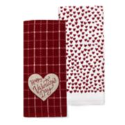 Celebrate Valentine's Day Together Heart Carve Grid Kitchen Towel 2-pack