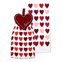 Celebrate Valentine's Day Together Heart Button-Top Kitchen Towel 2-pack