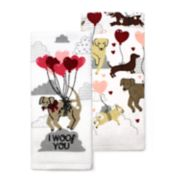 Celebrate Valentine's Day Together Dog with Balloons Kitchen Towel 2-pack