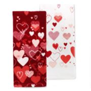 Celebrate Valentine's Day Together Heart Toss Kitchen Towel 2-pack