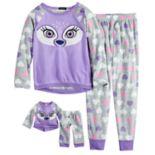 Girls 4-12 Cuddl Duds Critter Fleece Top & Bottoms Pajama Set & Doll Pajama Set