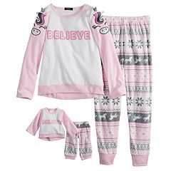 Girls 4-12 Cuddl Duds Critter Fleece Top & Bottoms Pajama Set & Doll Pajama Set
