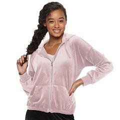 Juniors' Pink Republic Velour Zip Hoodie