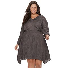 Plus Size Jennifer Lopez Smocked Fit & Flare Dress