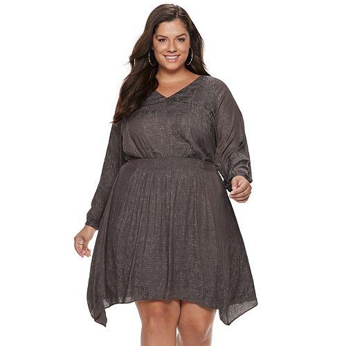 Plus Size Jennifer Lopez Smocked Fit & Flare Dress