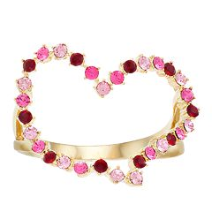 Brilliance Gold Tone Heart Ring with Swarovski Crystals