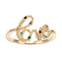 Brilliance Gold Tone Love Ring with Swarovski Crystals