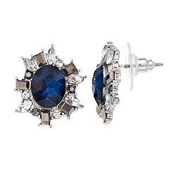 Blue Simulated Stone Flower Motif Stud Earrings