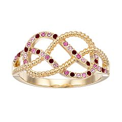 Brilliance Gold Tone Infinity Ring with Swarovski Crystals