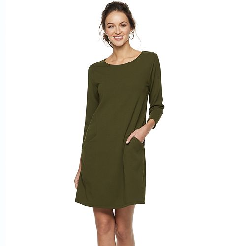 Women's Nina Leonard Crepe Trapeze Dress