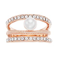 Brilliance Swarovski Crystal & Pearl Triple Band Ring