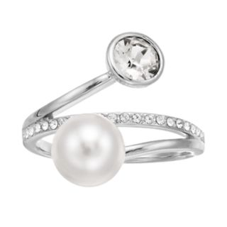 Brilliance Swarovski Pearl & Crystal Bypass Ring