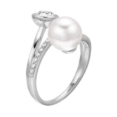 Brilliance Swarovski Pearl & Crystal Bypass Ring