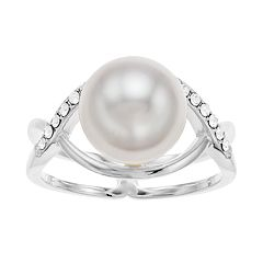Brilliance Open-Pave Ring with Swarovski Pearl & Crystals
