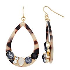 Acetate & Simulated Crystal Hoop Teardrop Earrings