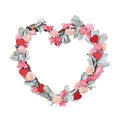 Celebrate Valentine's Day Together Artificial Flower Heart Wreath