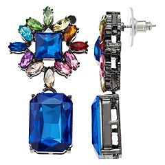 Flower Motif Multi Colored Crystal Drop Earrings