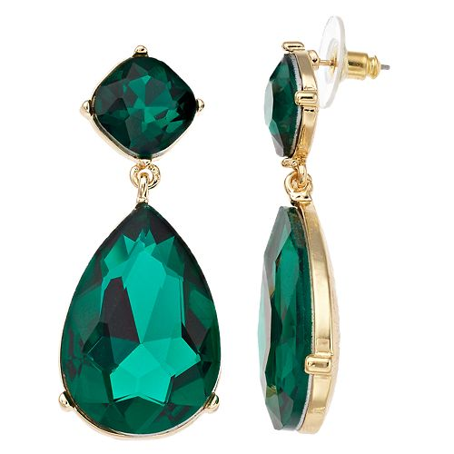 TREND Green Simulated Stone Statement Drop Earrings