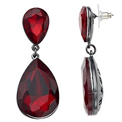 Red Simulated Crystal Statement Teardrop Earrings