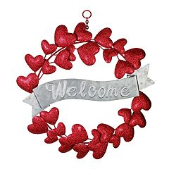 Celebrate Valentine's Day Together Metal 'Welcome' Wreath