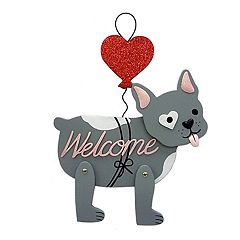 Celebrate Valentine's Day Together Puppy 'Welcome' Wall Decor