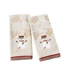 Saturday Knight, Ltd. 2-pack Woodcut Snowman Hand Towel Set
