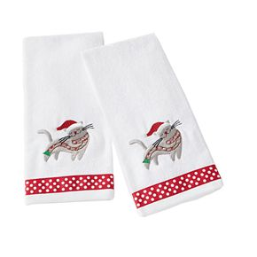 Saturday Knight, Ltd. 2-pack Christmas Kitten Hand Towel Set