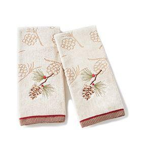 Saturday Knight, Ltd. 2-pack Snowy Pinecone Hand Towel Set