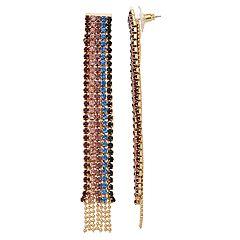 Multi Colored Rhinestone Chain Tassel Drop Earrings